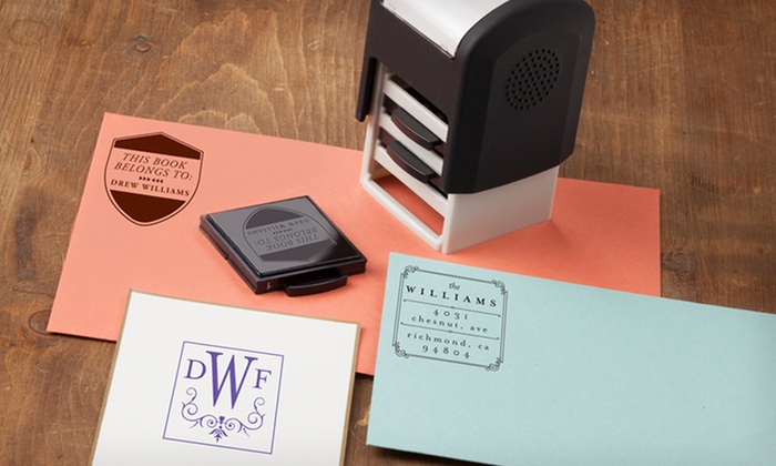 Custom Self-Inking Stampers: Custom Self-Inking Stampers from Mason Row (Up to 55% Off). Three Options Available. Free Shipping.