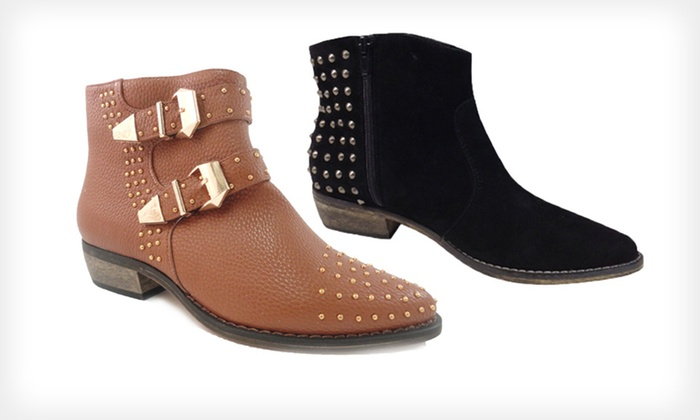 Bucco Studded Booties: $28.99  for Bucco Studded Booties ($100 List Price). Multiple Styles and Sizes Available. Free Shipping.