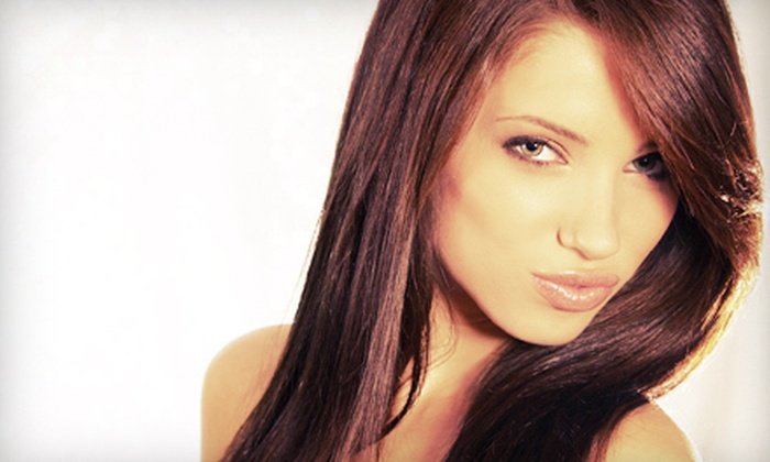 Uptowne Girl - Montclair: Blowout with Single-Process Color or Partial Highlights at Uptowne Girl (61% Off)