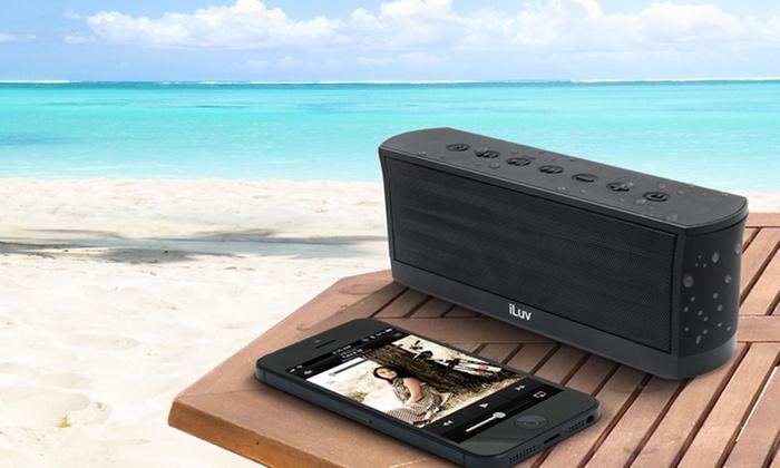 iLuv Splash-Resistant Stereo Bluetooth Speaker with Mic and Controls: iLuv Splash-Resistant Stereo Bluetooth Speaker with Mic and Controls
