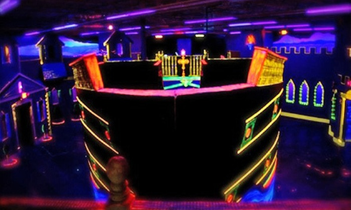 Scallywag Tag - Multiple Locations: Two Games of Laser Tag or Round of Black-Light Mini Golf at Scallywag Tag (Up to 46% Off)