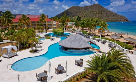 groupon daily deal - 4-, 5-, or 7-Night Stay for Two in a Deluxe or Sea-View Deluxe Suite at Royal by Rex Resorts in St. Lucia