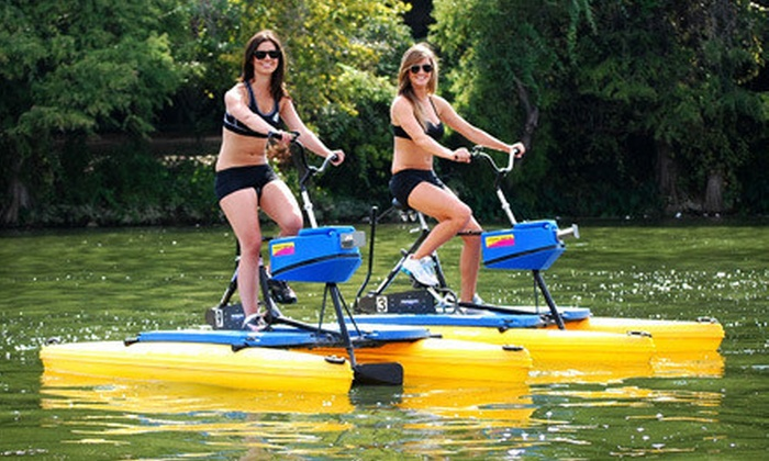 Austin Water Bikes - Hyatt Regency Austin: $29 for a 90-Minute Water-Bike Bat-Viewing Tour for Two from Austin Water Bikes ($70 Value)