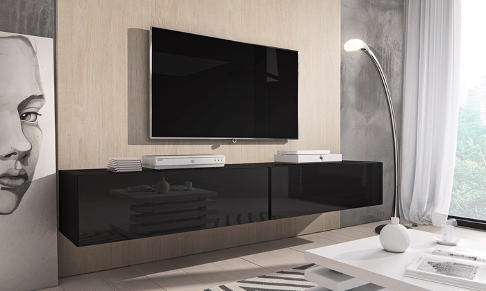 jusqu 39 63 meuble tv flottant laqu groupon. Black Bedroom Furniture Sets. Home Design Ideas