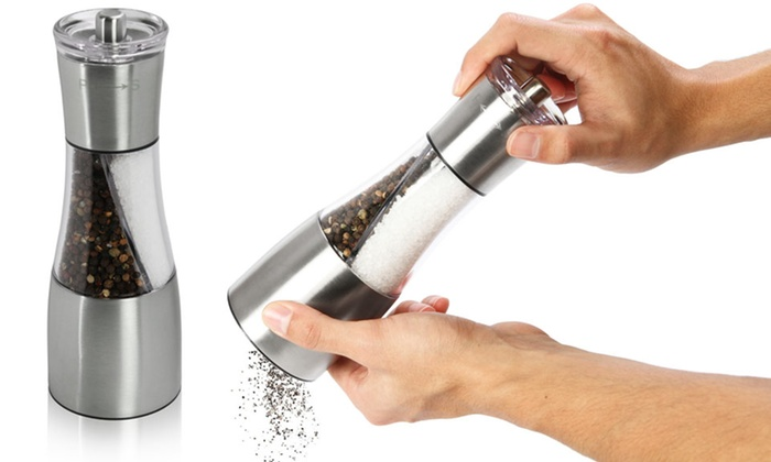 2-in-1 Stainless Steel Salt and Pepper Mill Spice Grinder