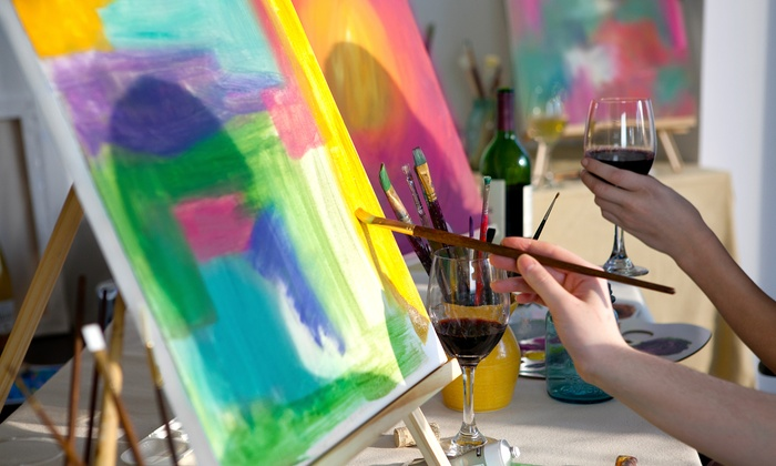 Two hour social painting wine taste for colour groupon for Groupon wine and paint
