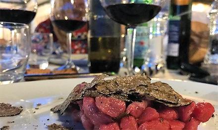 Menu gourmet con calice di vino a 56,90€euro