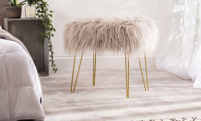 Faux Fur Stool with Hairpin Legs from £37.99 (24% OFF)