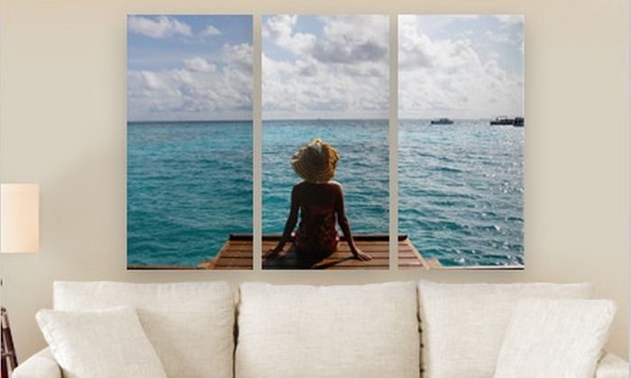 "Personalized Triptych PhotoSplits: Canvas on Demand 36""x24"" or 45""x30"" Triptych PhotoSplit (Up to 80% Off). Free Shipping."