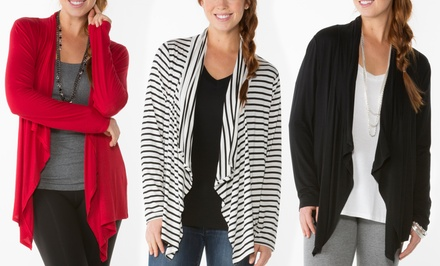Knit Drape-Front Cardigan by Sociology