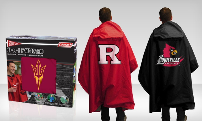 NCAA 3-in-1 Poncho, Blanket, and Stadium Seat Cushion: $19.99 for an NCAA 3-in-1 Poncho, Blanket & Stadium Seat ($39.95 List Price). Multiple Teams. Free Shipping & Returns.