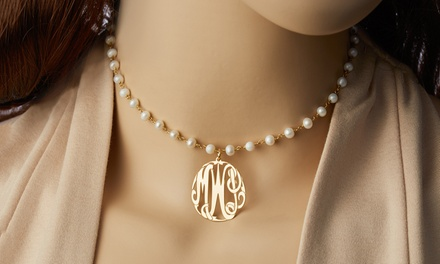 Custom Monogram Pendant Pearl Necklace in Yellow Gold Plated Sterling Silver