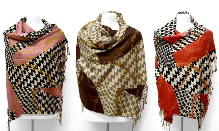 K&J Houndstooth Shawl/Scarf: K&J Houndstooth Shawl/Scarf in Black, Brown, Pink, or Red. Free Returns.