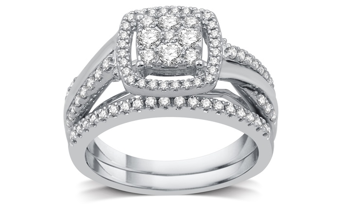 3/4 CTTW Diamond Cluster Bridal Ring Set In Sterling Silver (2 Piece ...