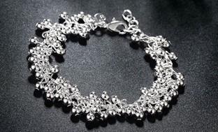 Dangle Bead Bracelet in Solid Sterling Silver