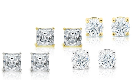 10.00 CTTW Crystal Stud Earrings 4-PC Set with Swarovski Elements in 18K White and Yellow Gold