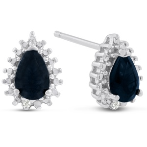 1 CTTW Pear-Shaped Sapphire and Diamond Accent Halo Stud Earrings in Sterling Silver