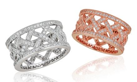Cubic Zirconia Basketweave Eternity Ring
