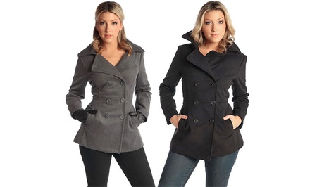 Alpine Swiss Emma Wool Pea Coat Groupon Goods