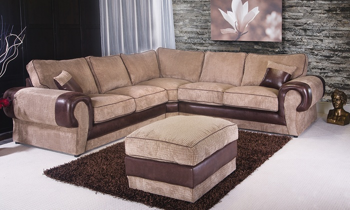Milan Jumbo Cord Corner Sofa Groupon Goods