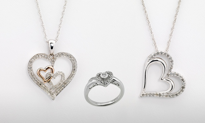 Diamond Heart Jewelry: Diamond Heart Ring or Pendant Necklaces (Up to 62% Off). Three Options Available. Free Shipping and Free Returns.