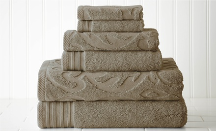 6-Piece Jacquard 100% Cotton Quick-Dry Towel Set