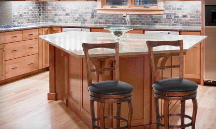 Two Swiveling Solid-Wood Barstools : $89 for a Set of Two Faux Leather Swivel Counter Barstools with a Walnut Finish ($260 List Price)