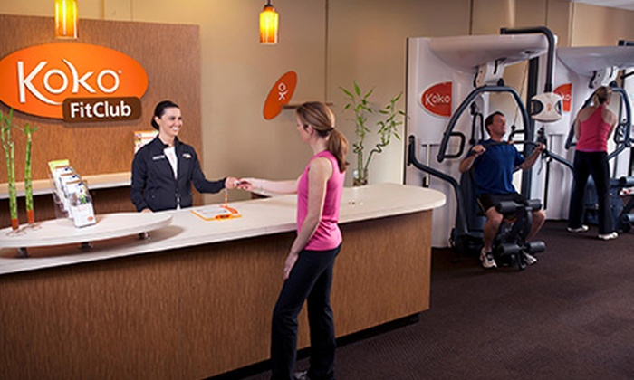 Koko FitClub - Multiple Locations: One- or Three-Month FitClub Membership with Custom Electronic Fitness-Goal Tracking at Koko FitClub (Up to 74% Off)