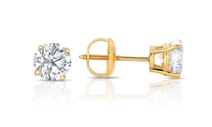 1 CTTW Diamond Stud Earrings in 14K Gold: 1 CTTW Diamond Stud Earrings in 14K Yellow Gold. Free Returns.
