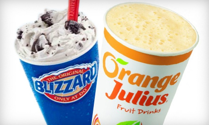 Dairy Queen/Orange Julius - DQ-Orange Julius: $5 for $10 Worth of Frozen Treats at Dairy Queen/Orange Julius