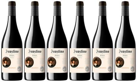 Caja de 6, 12 o 24 botellas de vino tinto Faustino Crianza 2015, D.O. Rioja, 75ml