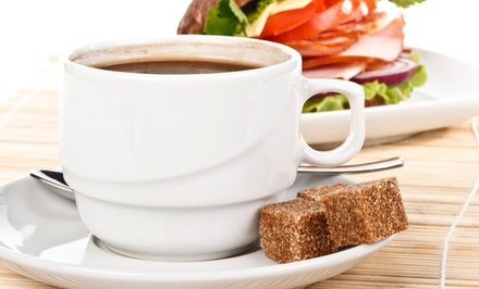 Coffee and Café Food at Ground Floor Cafe (Up to 52% Off). Three Options Available.