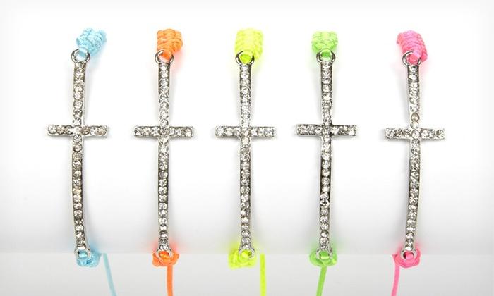 Jadore Bijoux Sideways Cross Bracelets: $9.99 for a Jadore Bijoux Cross Bracelet ($65 List Price). 30 Options Available. Free Returns.
