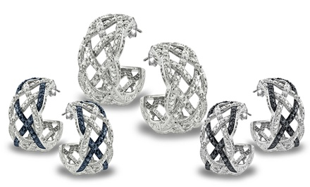 1/4-CTTW Diamond Weave Half Hoop Earrings