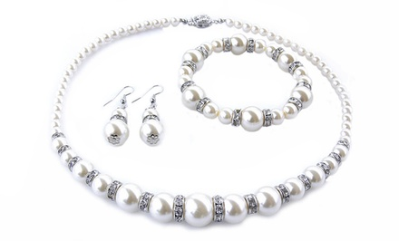 3-Piece Faux-Pearl Jewelry Set with Swarovski Elements
