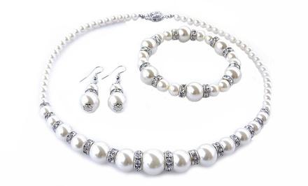 3-Piece Faux-Pearl Jewelry Set with Swarovski Elements