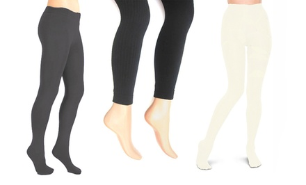 Chinese Laundry Footed Fleece-Lined Tights 2-Pack
