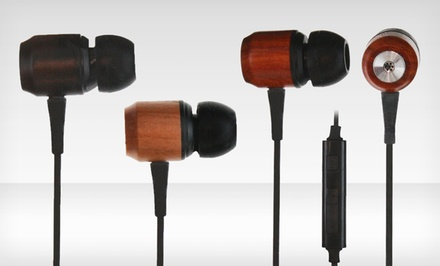 iHip Wood Earphones with Mic in Cherry, Ebony, or Rose