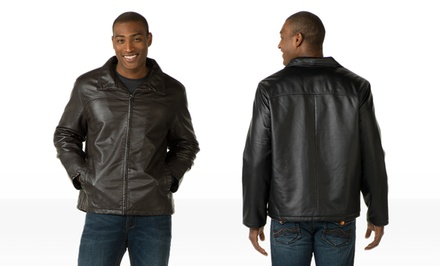 Fleet Street Men's Faux Leather Jacket. Multiple Options Available.