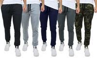 4-Pack Men's Slim Fit French Terry Joggers with Zipper Pockets (various colors/sizes)