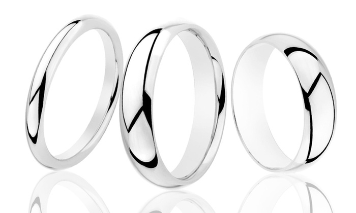 Sterling Silver Wedding Bands: 3.5 mm, 5 mm, or 7 mm White Gold-Plated Sterling Silver Super-Light Wedding Bands. Free Returns.