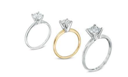 0.50 CTW or 0.75 CTW Certified Diamond Solitaire Ring in 14K White or Yellow Gold from $499.99–$699.99