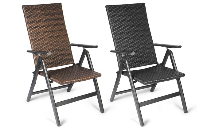Vanage Folding Garden Chair or Vanage Rattan-Effect Garden Chair with Footrest for £54.98