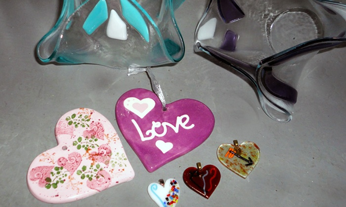 Bella Glass Studios - North Denver: Paint-Your-Own Heart Pendants or Fused Drapery Vase at Bella Glass Studios (Up to 50% Off)