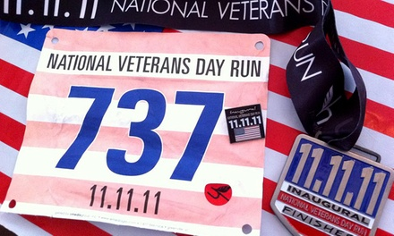One or Two Vouchers for an Adult Registration for National Veterans Day Run on November 14 or 15 (Up to 56% Off)