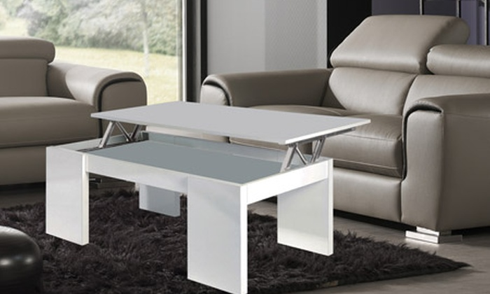 table basse blanche ou grise avec plateau relevable groupon shopping. Black Bedroom Furniture Sets. Home Design Ideas
