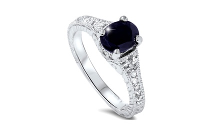 2.33 CTTW Vintage Style Sapphire and Diamond Ring in 14-Karat White Gold