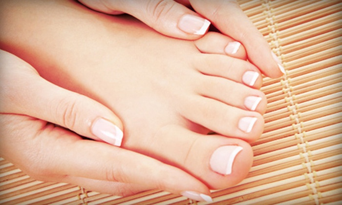 Angel Tips - Briarcliff Manor: One or Two Regular or Gel Manicures with Lemon Pedicures and Eyebrow Waxes at Angel Tips (Up to 60% Off)