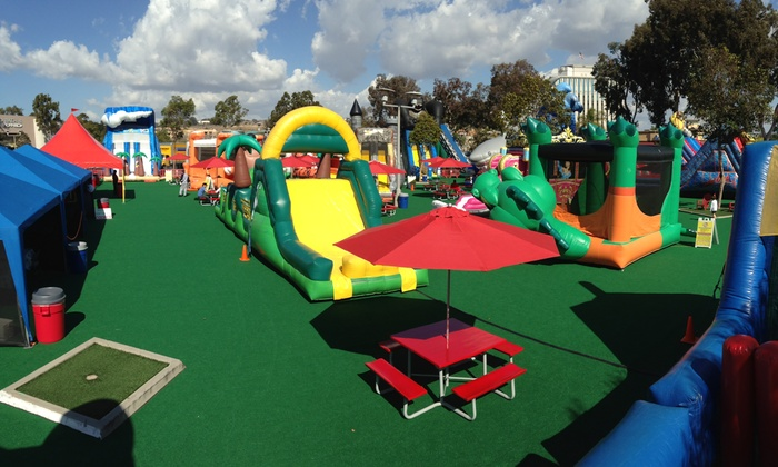 Inflatable World - Mission Valley East: All-Day Unlimited Play for One, Two, or Four Children at Inflatable World (Up to 50% Off)