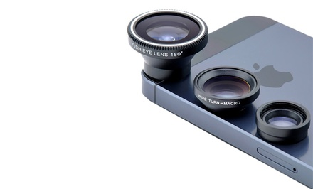 Acesori Four-Piece Smartphone Camera Kit with Three Lenses and Microfiber Cloth